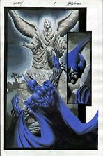 BATMAN ORIGINAL FULL-COLOR PAINTED ART SPLASH PAGE RON WILLIAMS WAYNE GRAVESITE
