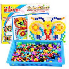 Peg Board Game DIY Mushroom Nails Jigsaw Puzzle Preschool Educational Toys