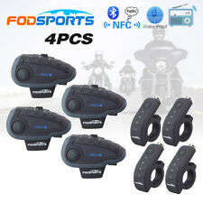 4x 1200m BT Motorcycle Intercom Bluetooth Helmet Interphone Remote V8 FM Headset