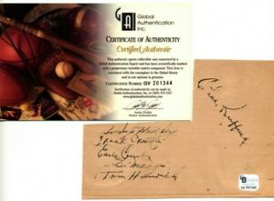 1937 YANKEES RUFFING, COMBS, DIMAGGIO  AUTOGRAPHED SIGNED SHEET  GLOBAL COA  HOF