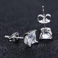 Gorgeous Stud Earrings for Women 925 Silver White Sapphire Earrings A Pair