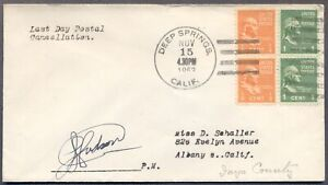 CALIFORNIA DPO: 8/31/1953 Cover KIRKWOOD Cancel, Last Day of Service; PM Signed
