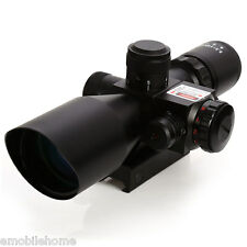 2.5-0x40 Tactical Rifle Scope Red Laser Dual Illuminated Mil-dot W/Rail Mount