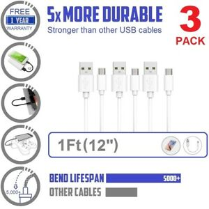 """1 2 3pack For samsung Android 12"""" (1ft) charger Data PVC Short Micro USB Cable"""