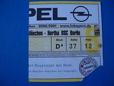 00/01 FC Bayern München - Hertha BSC Berlin Eintrittskarte Ticket Sammler FCB