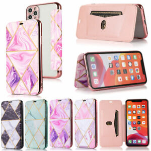 For iPhone 12 Pro 11 XR XS Max 6 7 8 Plus Marble  Wallet Leather Flip Cover Case