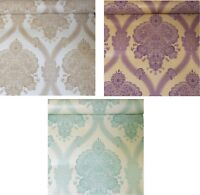 Holden Decor Cream Teal Plum Gold Beige Damask Pattern Textured Wallpaper