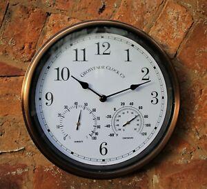 Garden Station Wall Clock Indoor Outdoor Metal Copper effect Temperature 26cm