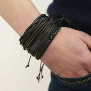 Lederarmband Herren Schwarz geflochten Breit Männer Armband Bracelet Leather