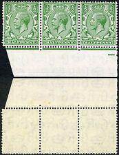 GB 1924 BLOCK CYPHER INVERTED WATERMARK SHEET MARGINAL STRIP of 3