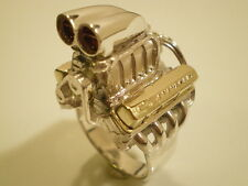 Chevy Supercharged BBC Brass Bowtie VC Shotgun scoop Mens engine ring  Size 11.5