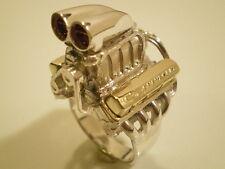 Chevy Supercharged BBC Brass Bowtie VC Shotgun scoop Mens engine ring  Size 11.5