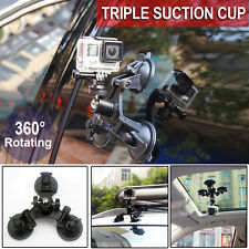 Triple Suction Cup Mounts Glass Sucker Car Holder For GoPro Hero 5 4 3+2 1Camera