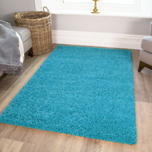 Teal Blue Shaggy Rug Soft Warm Thick Non Shed Plain Living Room Shaggy Area Rugs