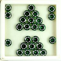 42 Ct/25 Pcs Natural Round AGSL Certified Transparent Green Garnet Gemstone Lot