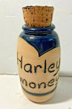 Harley Money ceramic jug JAR Cork top POTTERY BLUE GLAZE over