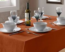 "BURNT ORANGE LINEN LOOK TABLECLOTH 180CM (70"") ROUND"