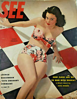 See Sept 1948 Vtg Magazine Corky Crowley Swimsuit Pin-Up French Sweden Mermaids