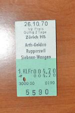 BIGLIETTO TRENO - FERROVIE - TRAIN TICKET - 1970 - ZURICH / ARTH-GOLDAU.... (B2)