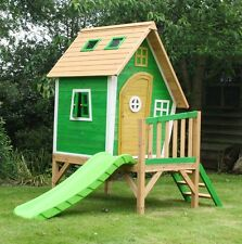 The Whacky Tower Playhouse - Raised Wooden Cubby with Slide