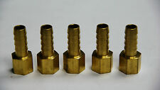 Brass Fittings: Brass Female Hose Barb, Female Pipe Size 1/4, Hose ID 3/8, QTY 5