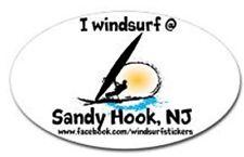 "I Windsurf @ Sandy Hook, Nj Bumper/Window Sticker Oval 3"" X 5"""