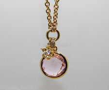 JUICY COUTURE Gold Pink Gemstone Pendant & Cute Mini Charm Necklace + Gift Box