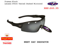 RayZor Black Sports Wrap Sunglasses Uv400 Vented Smoke Mirrored Lens RRP£49 (220