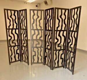 MID CENTURY MODERN STYLE  ROOM DIVIDER SCREEN 6 PANELS BLACK Pic up