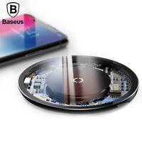 Baseus 10W Schnell Qi Kabelloser Ladegerät Aluminium Legierung Glas Für iPhone X