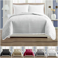 3 Piece Quilted Bedspread Cotton Like Comforter Bedding Set Single Double King