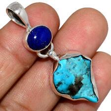 Sleeping Beauty Turquoise Rough & Lapis 925 Silver Pendant Jewelry AP202114