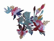 "#5079 3"" Red Purple Hibiscus Bush Flower Embroidery Iron On Appliqué Patch"