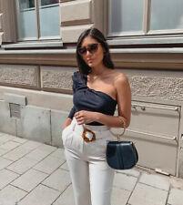 Zara Black One Shoulder Asymmetric Top Size M