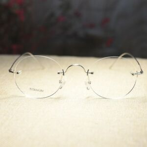 Titanium Round Glasses Steve Jobs eyeglasses Men's silver RX Clear eyewear