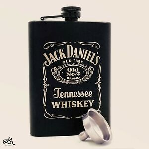 Stainless Steel Hip Flask Flagon Whiskey Wine Pocket Leather Cover Bottle 7/8 oz