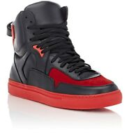 RIP-OFFS Men's Nappa leather/ suede Red and Black hi top sneakers Orig $475