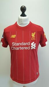 LIVERPOOL FC STANDARD CHARTERED RED 19-20 HOME FOOTBALL SHIRT AGE 14-16 YEARS