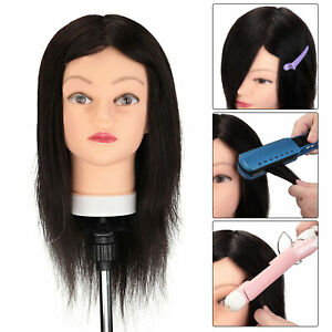 100% Real Human Hair Training Head Hairdressing Styling Cutting Mannequin Doll