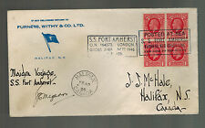 1937 England SS Fort Amherst Maiden Voyage Ship Cover to Canada w clippings