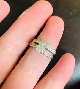 Antique ORANGE BLOSSOM Platinum 1 CTW Diamond Engagement Wedding Band Ring SET
