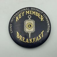 Vintage Lions Club Convention Key Member Breakfast Button Pin Pinback Badge P6
