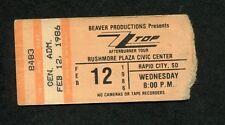 Original 1986 Zz Top concert ticket stub Rapid City Sd Afterburner Tour