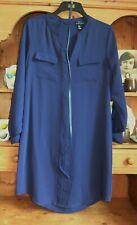 BLUE TUNIC STYLE DRESS ADRIENNE VITTADINI LOOSE SHIFT UK 12 NQP