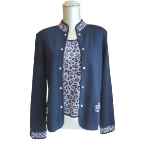 Women's Ming Wang Leopard Print Jacket Sweater Set with Tank Top Size Small S