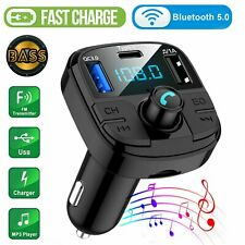 Wireless In-Car Bluetooth 5.0 FM Transmitter QC3.0 USB Charger Radio Adapter Kit