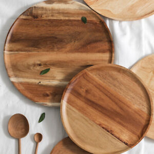 S M Round Wooden Plate Tray Food Snack Serving Breakfast Salad Bowl Holder Home