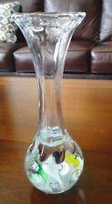Vintage St. Clair Art Glass Trumpet Flower Paperweight BUD VASE Multi-Color