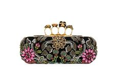 Alexander McQueen Medieval Embroiderd Jeweled Knuckle Clutch Bag NEW Black $3695