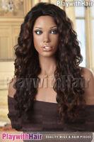 HUMAN HAIR BLEND! Long Flirty Wig Black Brown Mix
